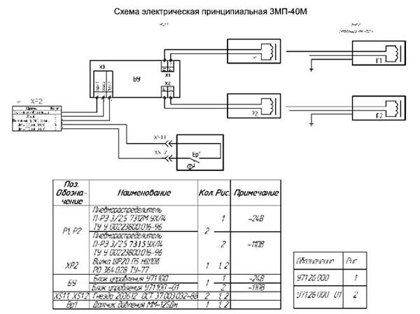 Схема электрическая принципиальная ЗМП-40М.